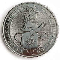 1 Oz Platinmünze Queens Beasts White Lion of Mortimer