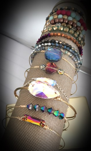 wrapped bracelets with sparkly stones