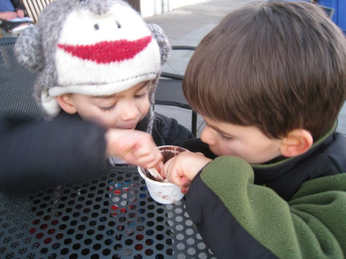 Twin toddler boys scoop the last of the chocolate ice cream
