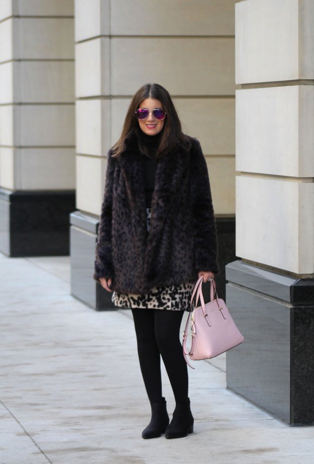 leopard skirt and faux fur 3