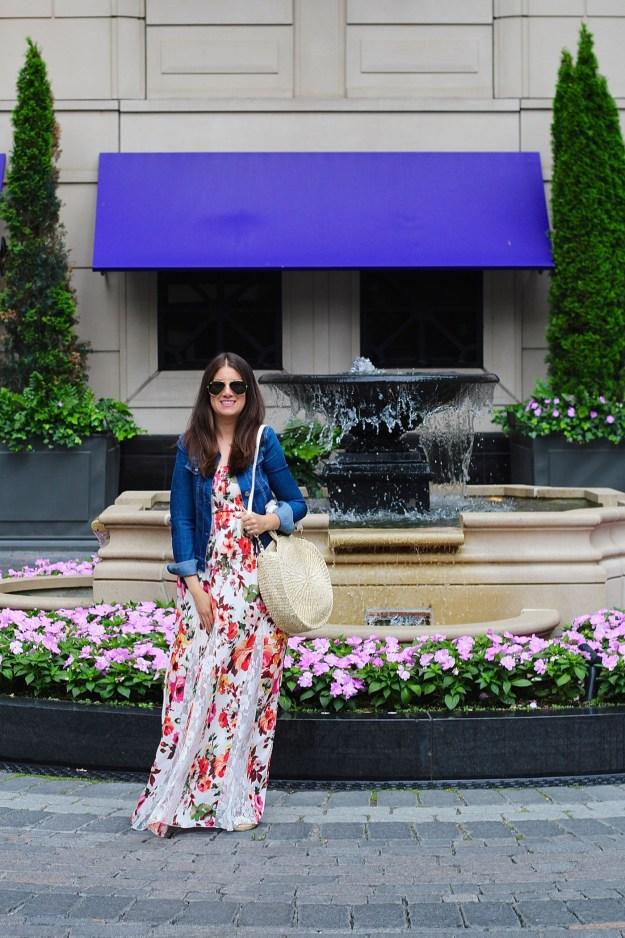 Floral Maxi Dresses Jean Jacket