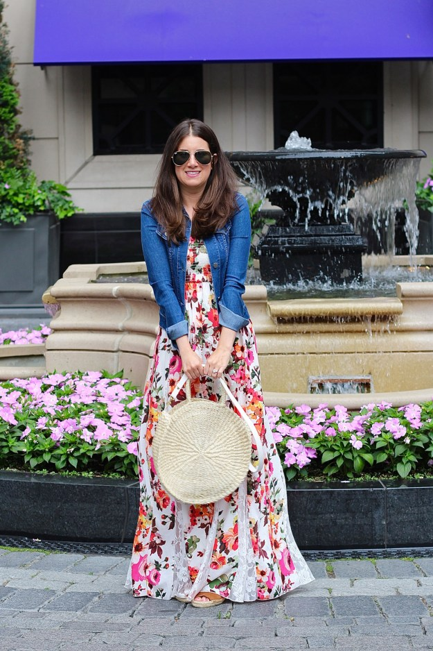 Clare V Round Straw Bag Floral Maxi