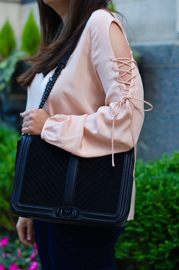 blush lace up top and rebecca minkoff handbag
