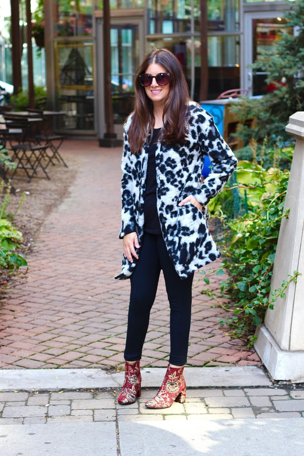 textured animal print jacket and booties