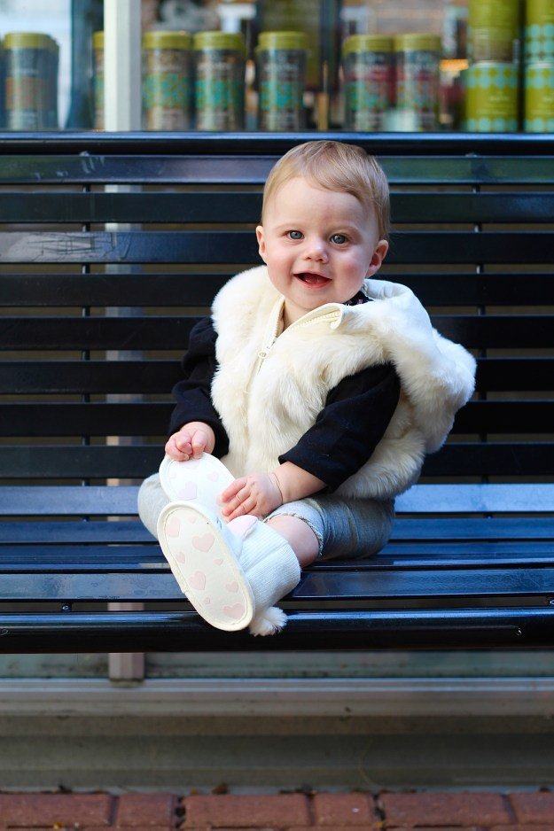 baby white faux fur vest and booties