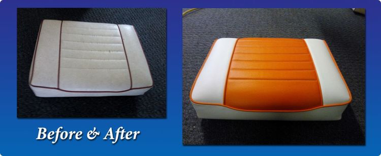 Boat seat upholstery - before and after