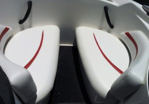 Red white upholstery boat seats
