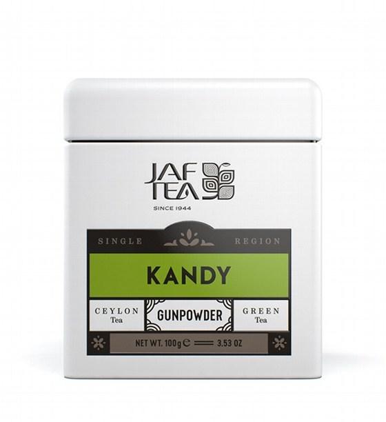 "JAFTEA зеленый чай ""КАНДИ"" (Kandy) GunPowder жестяная банка 100g"