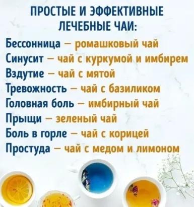 Простые и эффективные лечебные чаи.