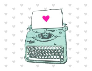 aqua typewriter heart