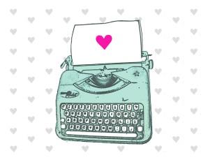 aqua typewriter heart