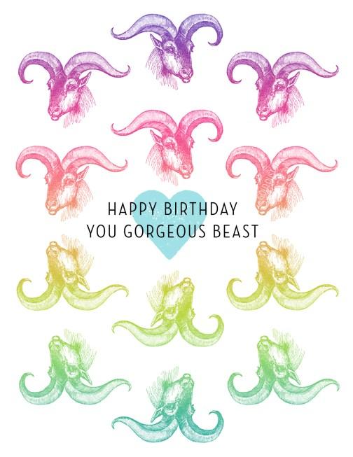 you gorgeous beast birthday card