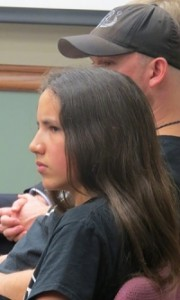 13-year-old Xiuhtezcatl Roske-Martinez looks on during a hearing.