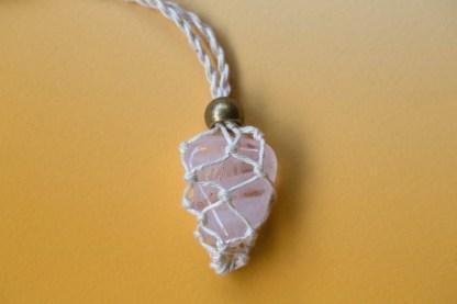 Rose Quartz Macrame Necklace | Golden Blue