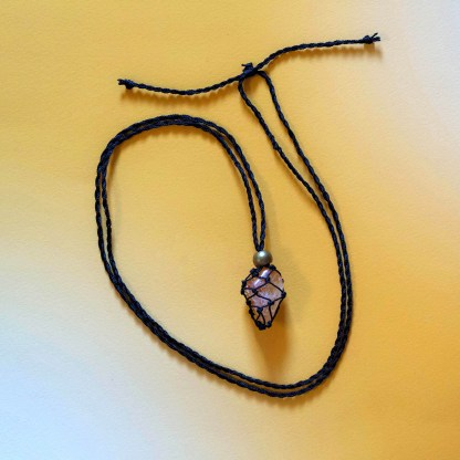 Citrine Macrame Necklace (Black Nylon) | Golden Blue