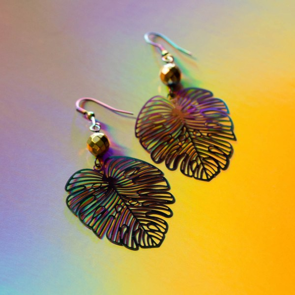 Metallic Earrings | Golden Blue