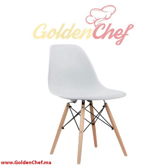 chaise en pvc pieds en bois sans accoudoirs eco roque