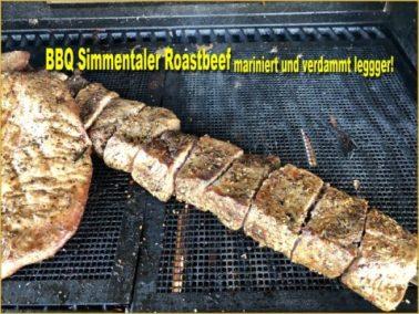 Essen - mariniertes Simnmertaler Roast auf Spieß