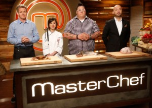 Christine Ha with the judges on Masterchef 2013