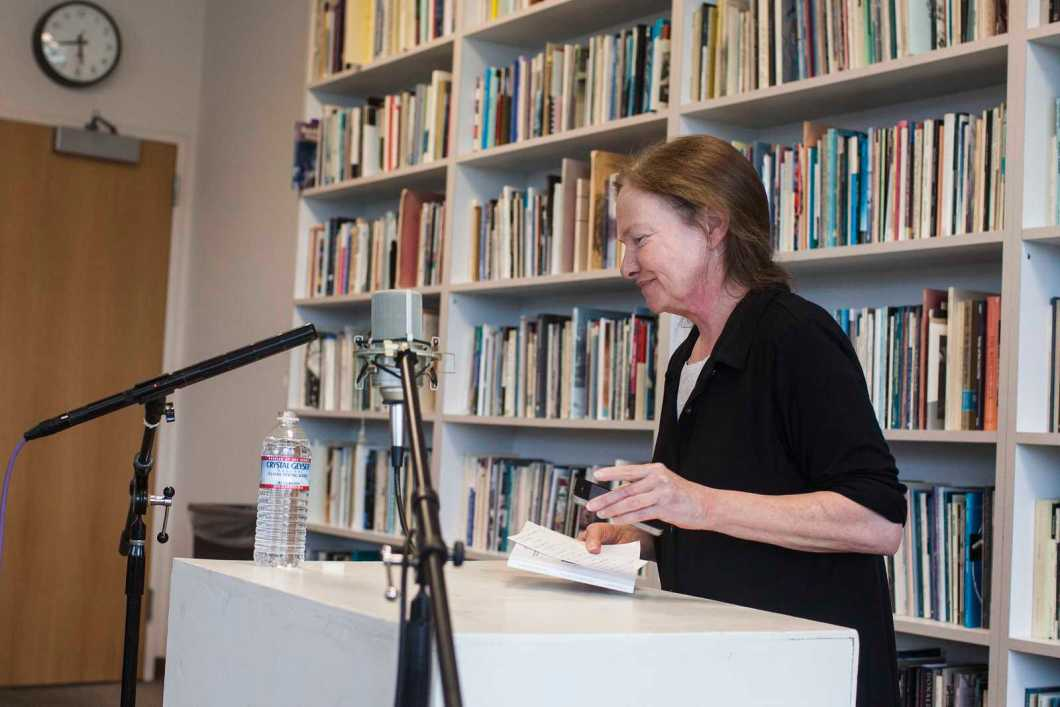 Kate Greenstreet finishes reading from her book, Young Tambling, in the Poetry Center at SF State, Sept. 12. Photo by Mike Hendrickson / Xpress