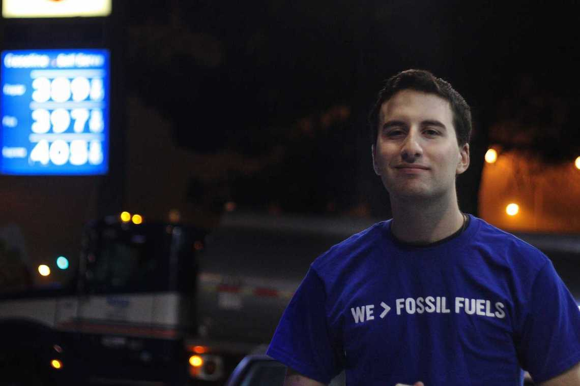 Adam Sherman, vice president of SFSU Fossil Free, stands in front of a Chevron Station near 19th Avenue on Tuesday, Oct. 22, 2013. SFSU Fossil Free hopes to show the CSU system how to divest its stocks from fossil fuel companies. Photo by Ryan Leibrich / Xpress