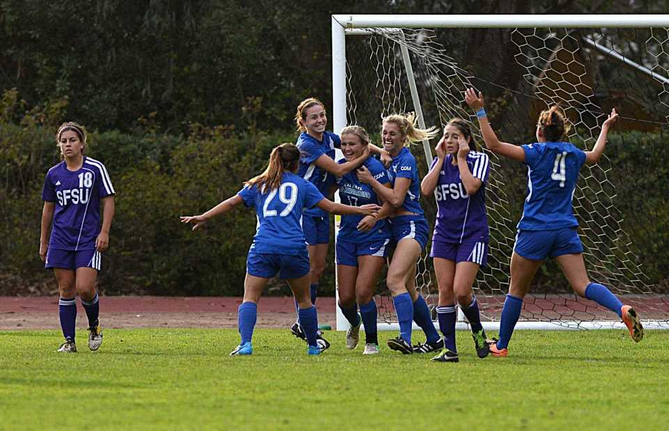 Cal State San Bernardino's Coyotes score the last goal against SF State Gators' during the soccer match at Cox Stadium in San Francisco on Sunday, Nov. 3, 2013. The Gators lost 2-0. Photo by Virginia Tieman / Xpress