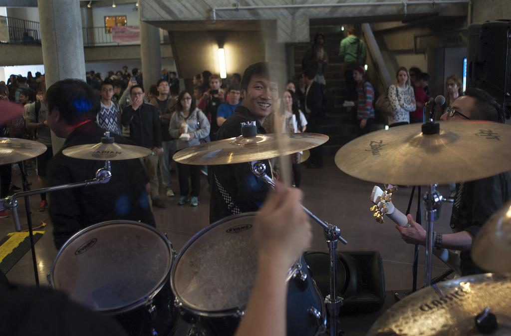Nervous Factor performs for SF State students inside the Cesar Chavez Building during the grand opening of Quickly, Ha Tien Cove, and Shah's restaurants in San Francisco on Thursday, March 13. Photo by Godofredo Vasquez/Special to Xpress