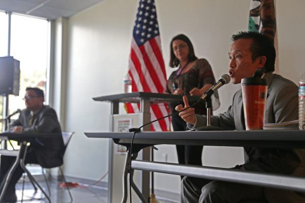 San Francisco Supervisor David Chiu speaks during a debate with Supervisor David Campos at SF State's J. Paul Leonard Library Wednesday, April 16. Chiu and Campos are both running for California State Legislature to represent San Francisco's 17th assembly district. Photo by Rachel Aston / Xpress