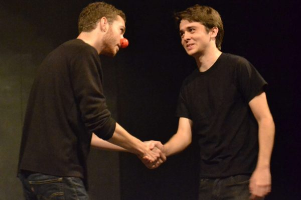 """SF State students Ethan Fry (left) and Kyle Merryman (right) perform William Shakespeare's """"As You Like It"""" during the 2nd annual Opening Day Festival hosted by the College of Liberal & Creative arts Sunday, Sept. 28, 2014. Annastashia Goolsby / Xpress."""