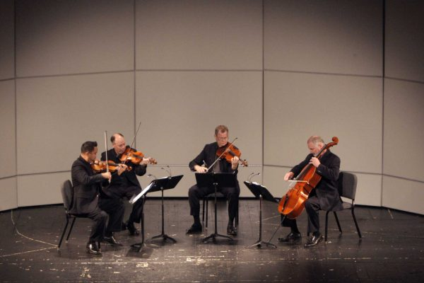 The Alexander String Quartet, starting from the left: Zakarias Grafilo on the violin, Frederick Lifsitz on the second violin, Paul Yarbrough on the viola and Sandy Wilson on the cello, perform at the Mckenna Theatre during the Liberal & Creative Arts Opening Day Festival at SF State in San Francisco, Calif., on Sunday, Sept. 28, 2014. Daniel Rivera / Xpress.