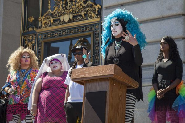 "Sister Roma, joined by fellow drag personalities at San Francisco's City Hall, expresses her gratitude for Facebook's decision to revisit its ""Real Name"" policy, making it possible for drag queens and kings to maintain their online identities on Friday, Oct. 2, 2014. Frank Ladra / Xpress."