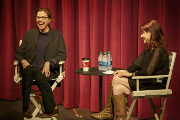 Actress Annette Benning laughs during an interview in the Little Theater in the Creative Arts Building Friday, Oct. 10, 2014. Frank Ladra / Xpress
