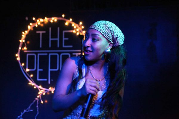 Get It Indy performs a song for the first time at the The Depot on Thursday, Oct. 29, 2014. Lorisa Salvatin/Xpress.