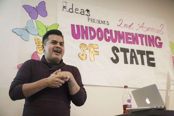 Yosimar Reyes, the headlining presenter, shares a personal story with the audience at the IDEAS meeting Wednesday, Nov. 12, 2014. Martin Bustamante/Xpress.