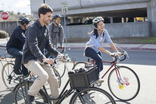 Mark Dreger (left) and Janice Li (right) taking biking to the first stop of prospective sites concerning cycling traffic by the San Francisco Municipal Transportation Agency Saturday, Nov. 1, 2014. Martin Bustamante/Xpress.