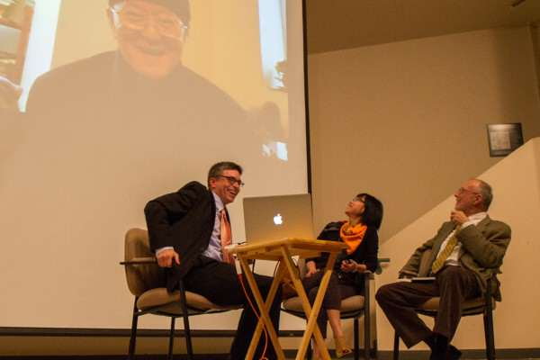 Frederik Green, Sylvia Lin and Howard Goldblatt speak with Huang Chunming, who could not attend the gathering due to a recent diagnosis of cancer, during Tales of a Beautiful Island, a reading of famous fictions written in Mandarin by Huang Chunming and translated into English by former SF State Professor Howard Goldblatt. Eric Gorman/Xpress.