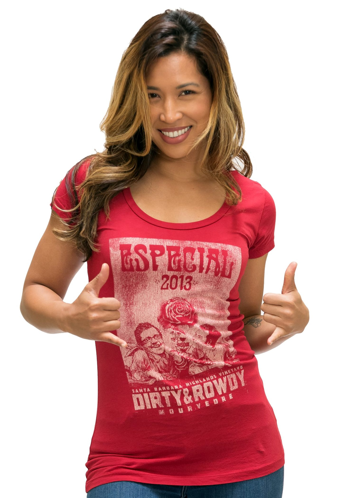 Women's Red Dirty and Rowdy Jersey Scoop T-Shirt