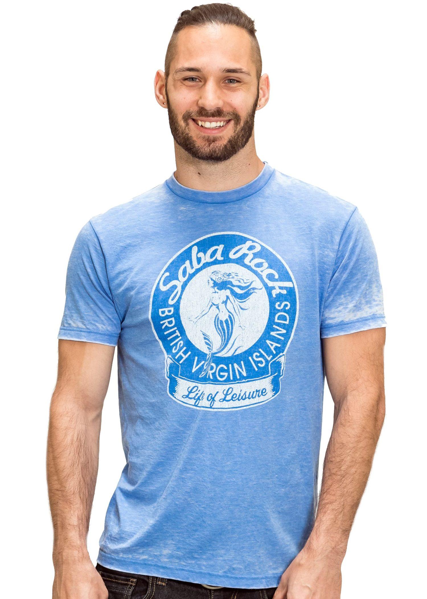 Men's Blue Saba Rock Burnout Crew T-Shirt