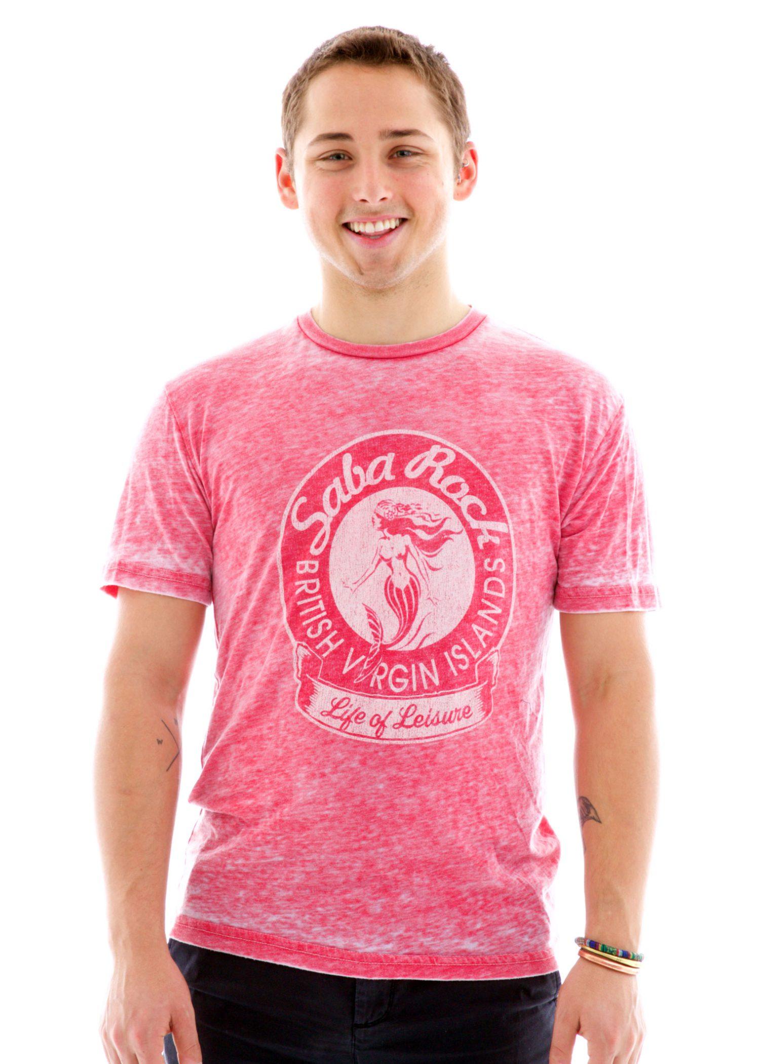 Men's Pink Saba Rock Burnout Crew T-Shirt