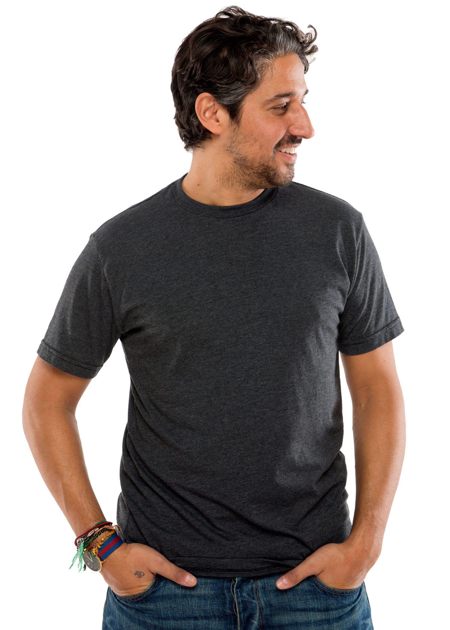 Heathered Crew Short Sleeve T-Shirt in Black Heather