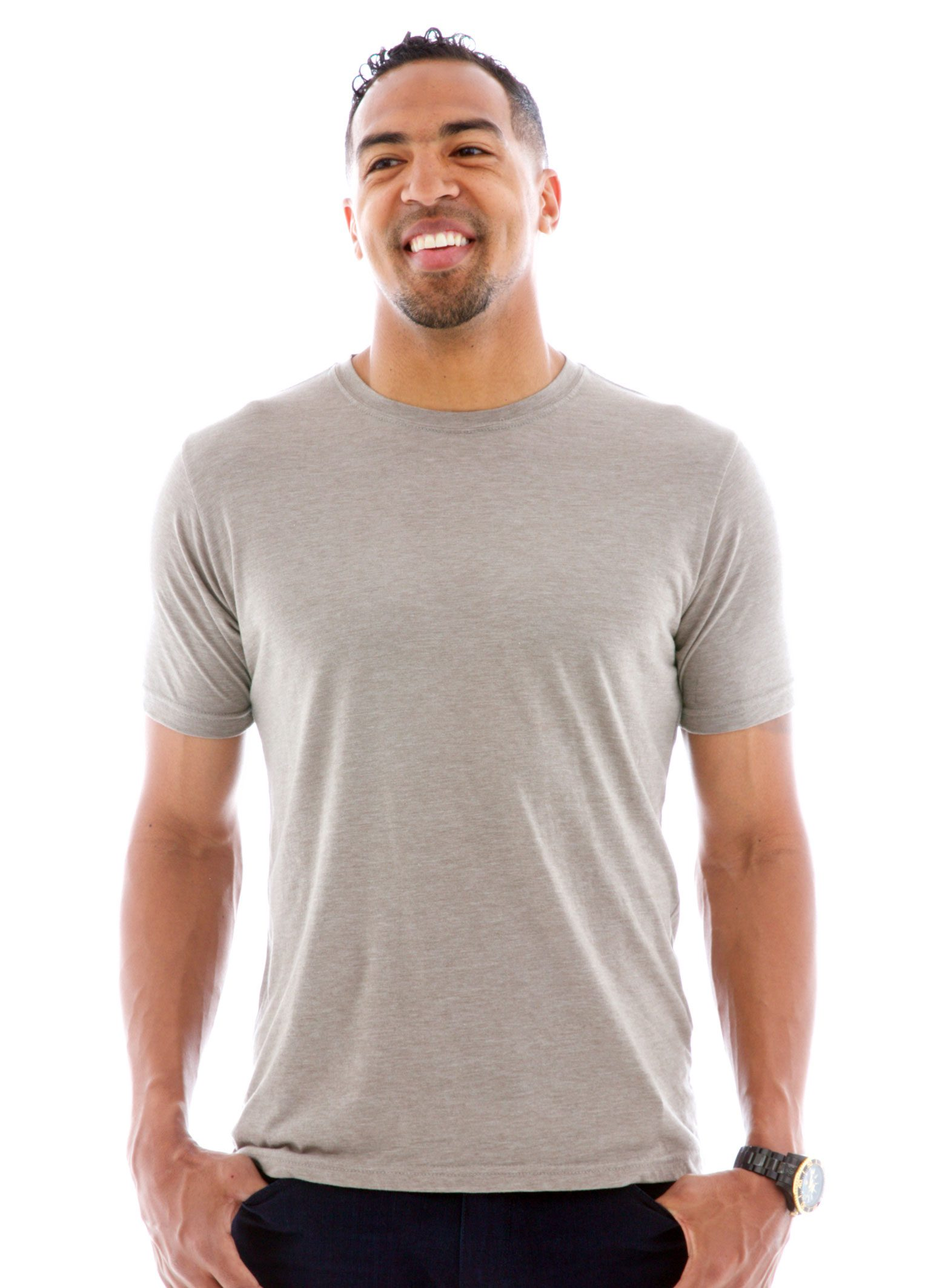 Heathered Crew Short Sleeve T-Shirt Front View