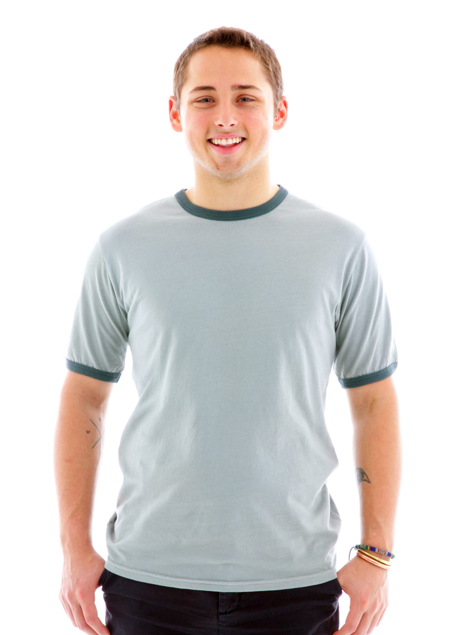 Ringer Crew Short Sleeve T-Shirt Front View