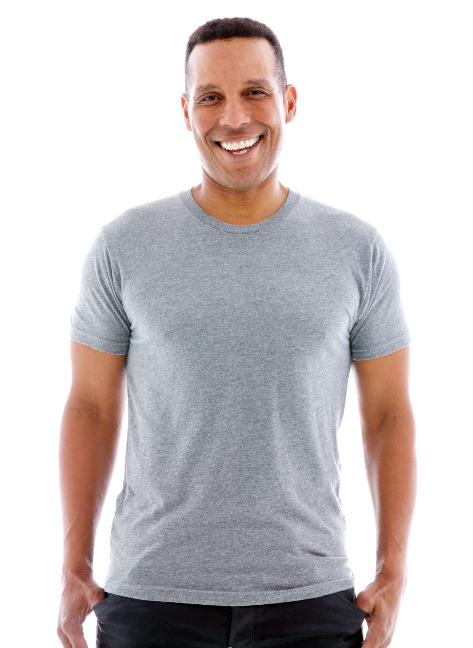 Triblend Jersey Crew Short Sleeve T-Shirt Front View