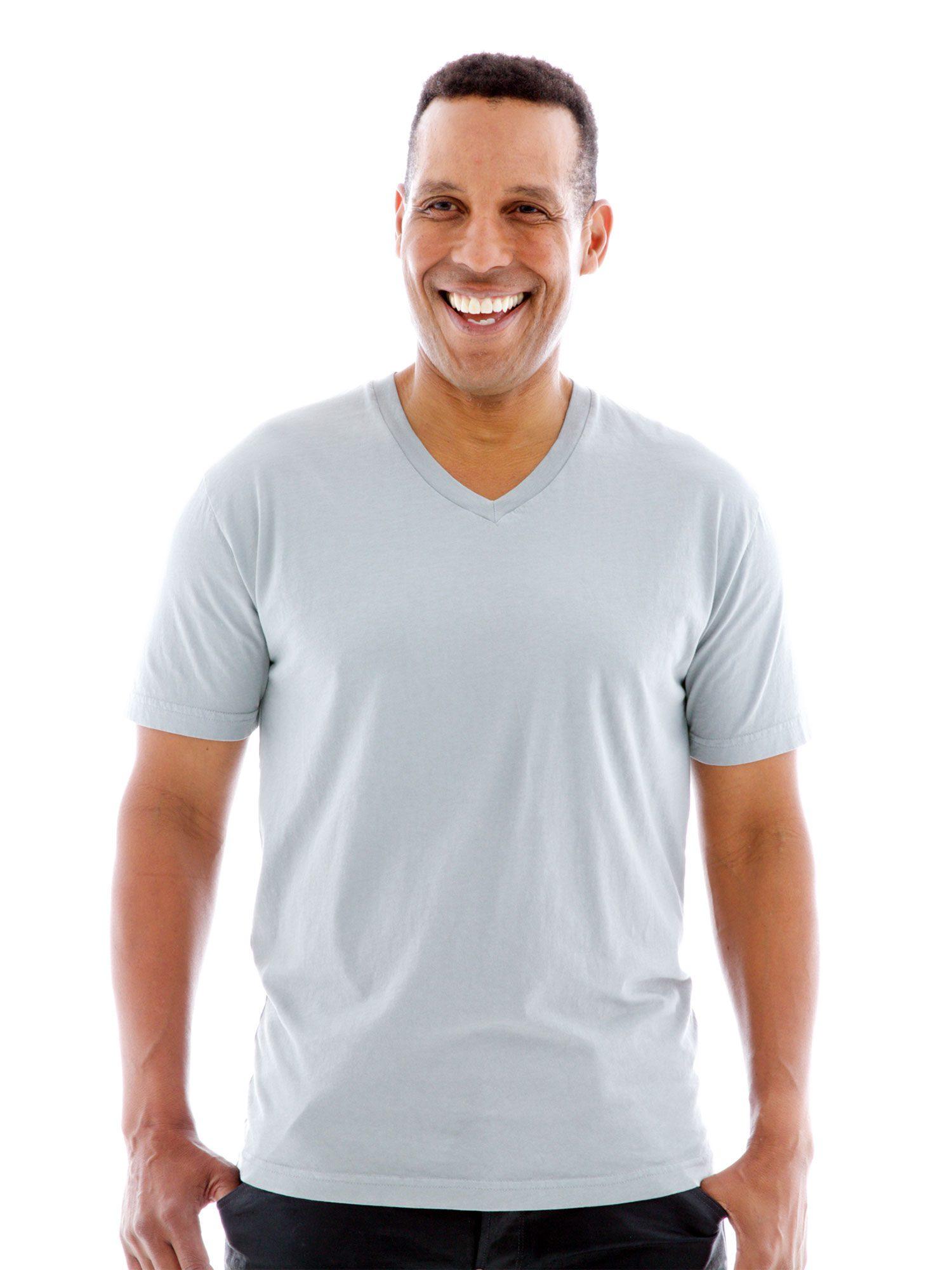 Fine Jersey V-neck Short Sleeve T-Shirt Front View