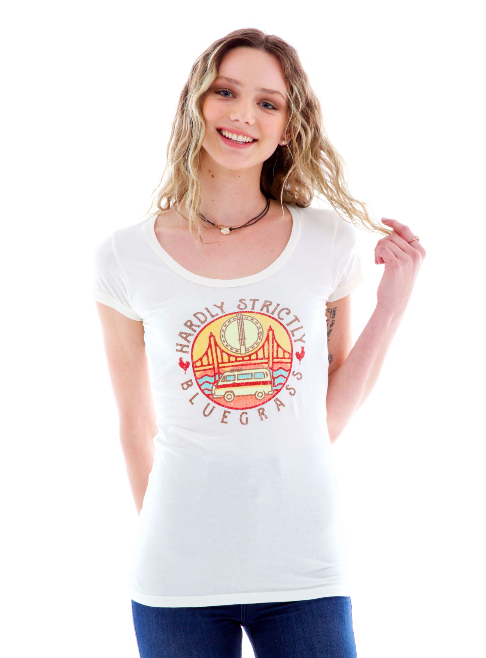 Fine Jersey Scoop Short Sleeve T-Shirt with Logo