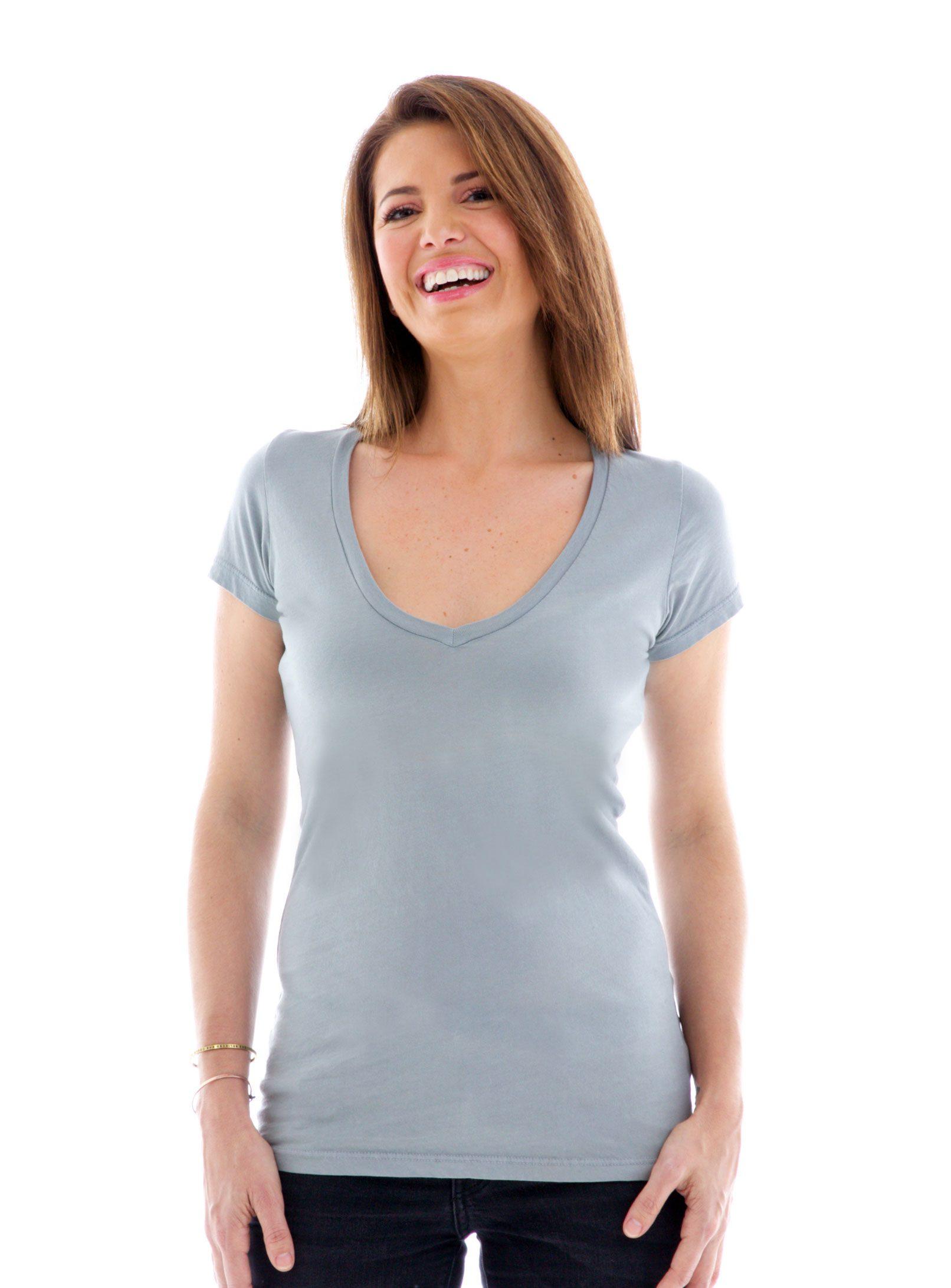Fine Jersey Deep V-neck Short Sleeve T-Shirt Front View
