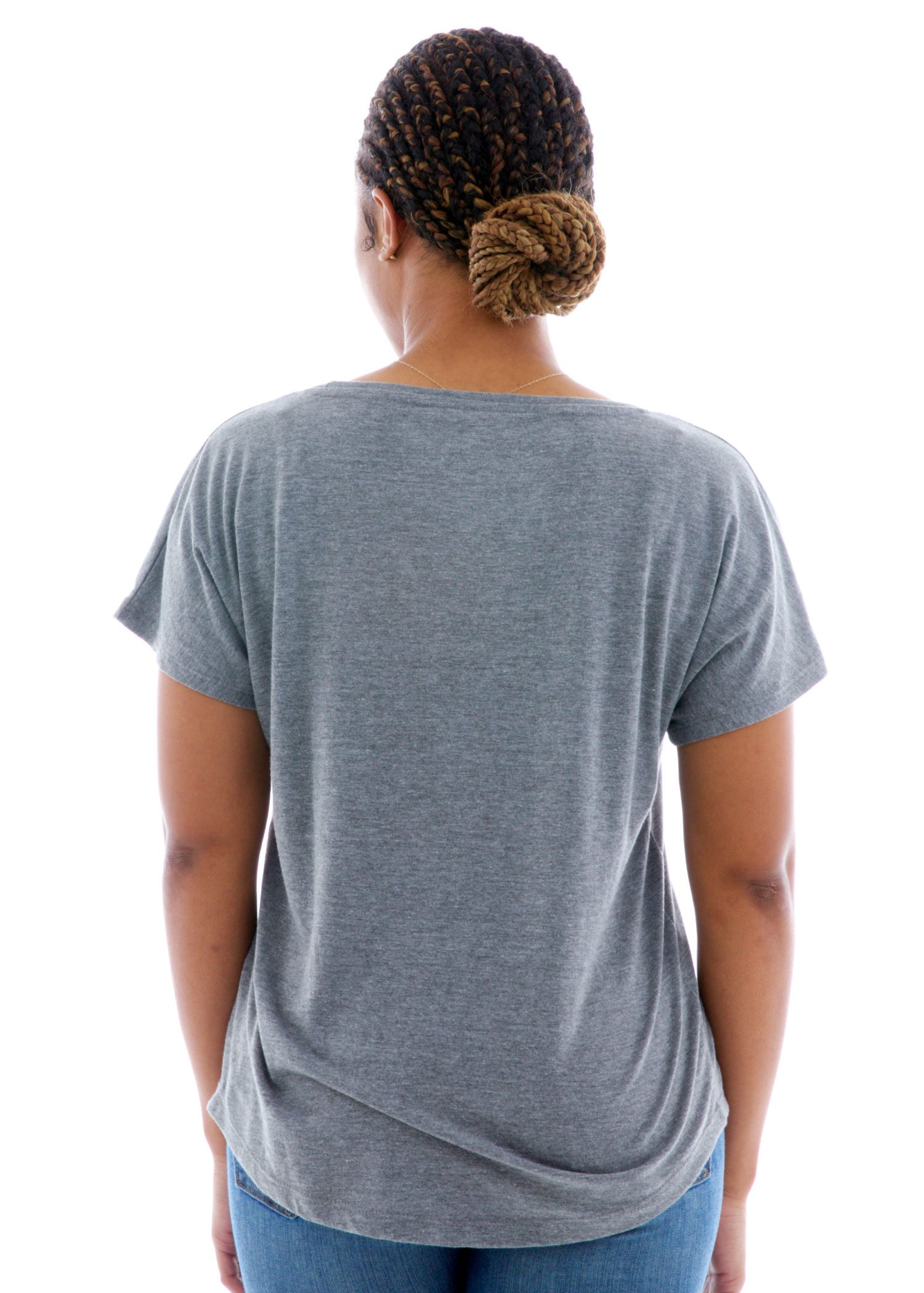 Triblend Dolman Short Sleeve T-Shirt Back View
