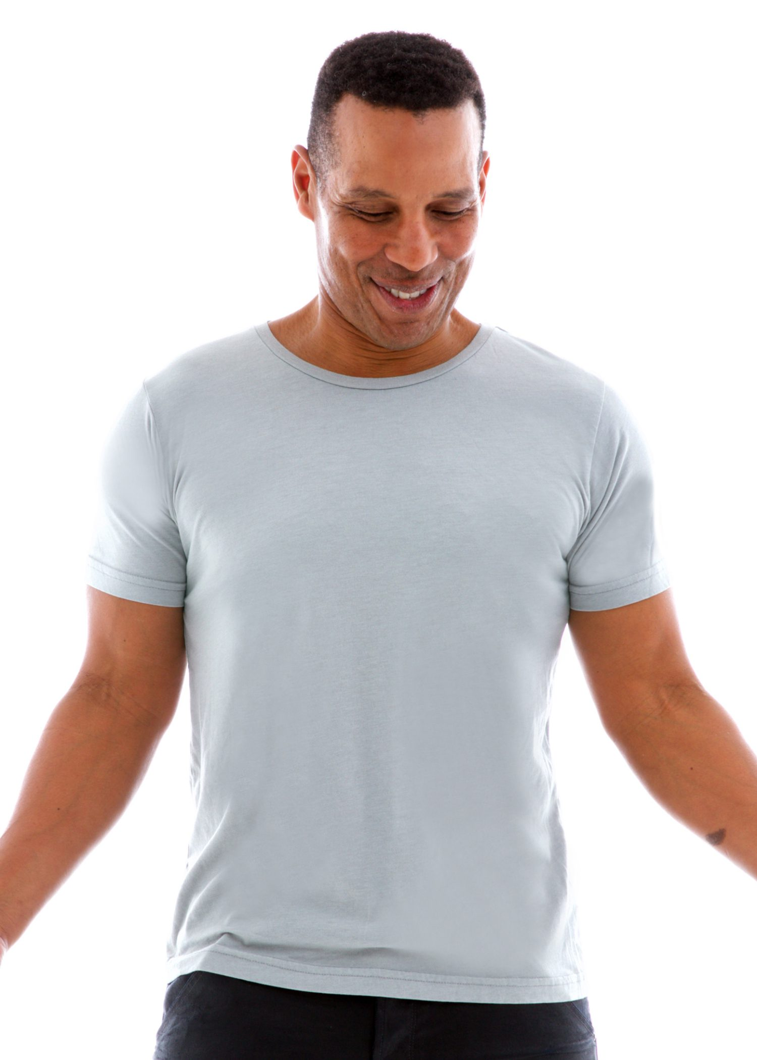 Superfine Jersey Fashion Crew Short Sleeve T-Shirt Front View