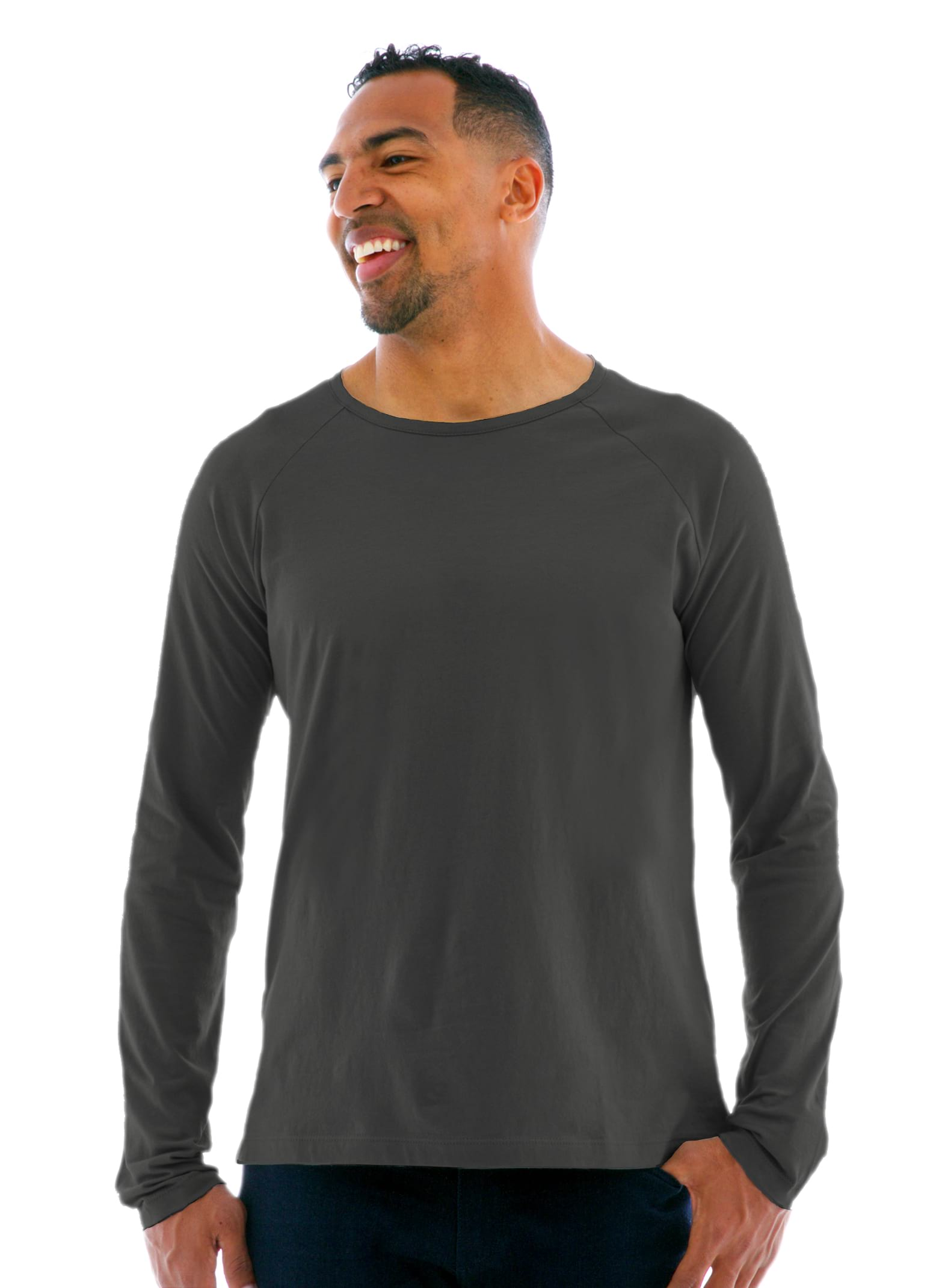Long Sleeve Raglan Crew T-Shirt in Medium Gray