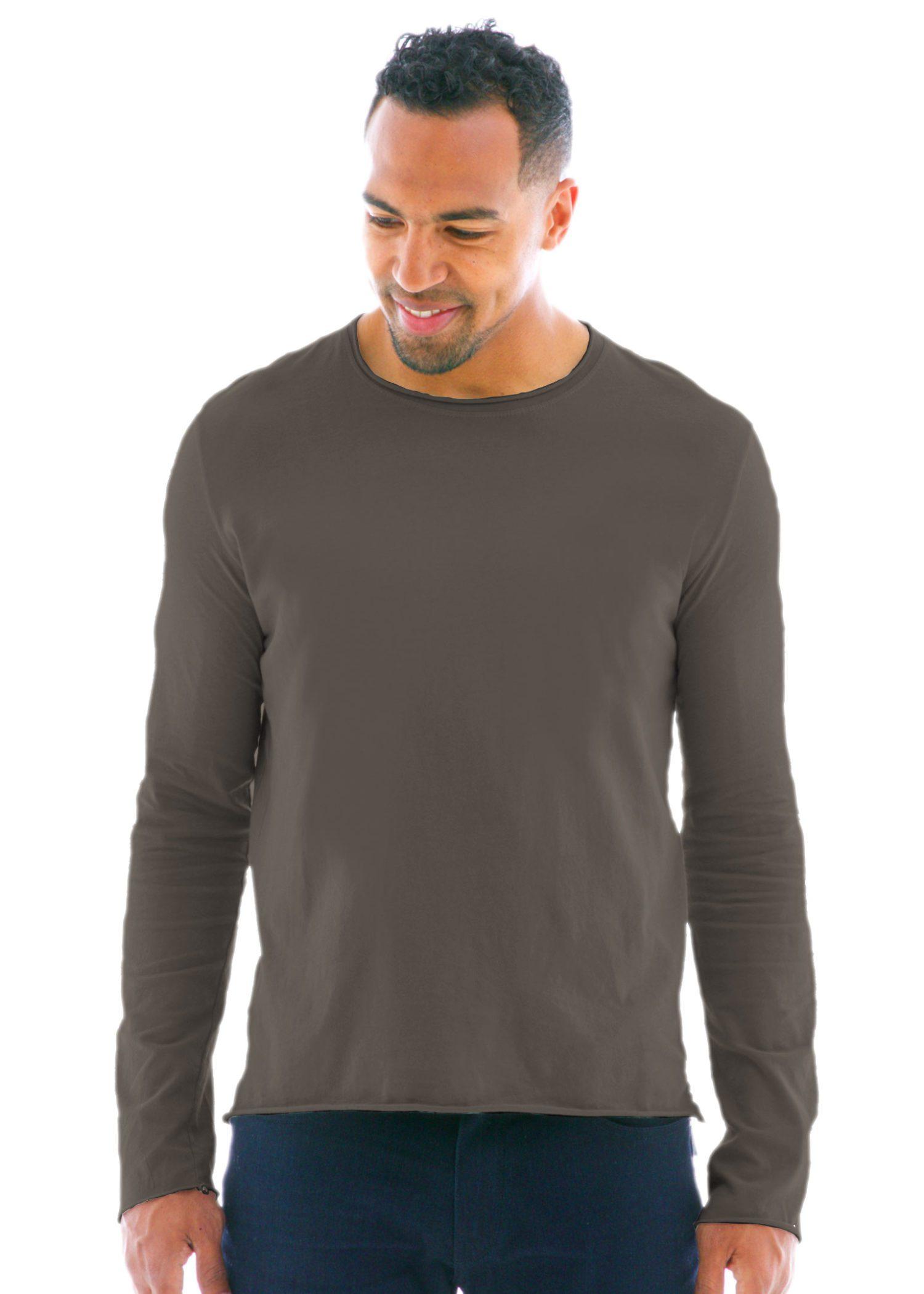 Raw Edge Long Sleeve Crew T-Shirt Front in Medium Gray